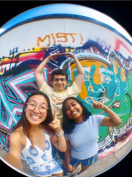 Visiting the East Side Gallery on the Berlin Wall with other MIT interns Christine and Seb